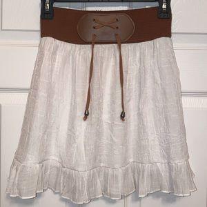 crushed sheer white high waisted skirt